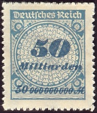 A 50 Billion Mark Postage Stamp (Milliarden means Billion)